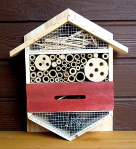 Insektenhotel mit hölzernen Brutröhren werden gerne von unterschiedlichen Wildbienenarten angenommen © M. Resch