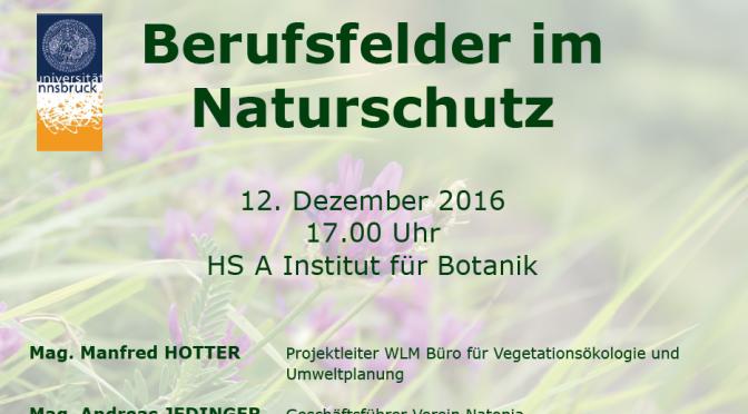 """Informationsveranstaltung zum Thema """"Berufsfelder im Naturschutz"""""""