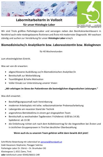 Labormitarbeiter/in Histologie (Vollzeit)