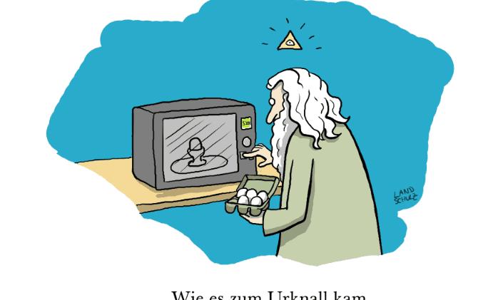 Titelbild: Urknall. Quelle: Dorthe Landschulz. Aus: Wissenschaftliche Cartoons. Holzbaum-Verlag