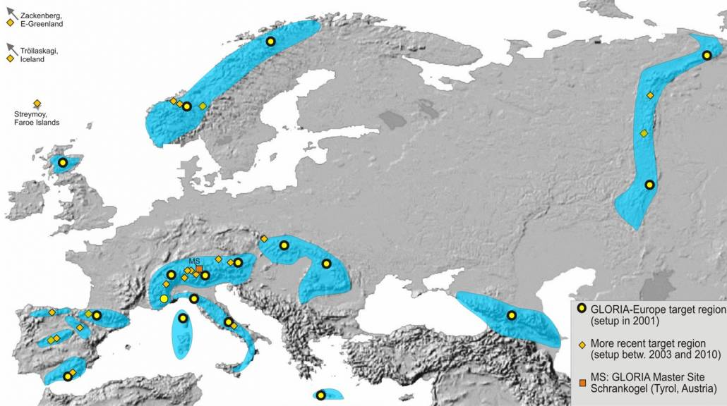 Abb.1: Europäische Gebirgsregionen mit GLORIA-Erhebungsflächen. Diejenigen 17 Regionen, die in die erste Erhebung 2001-2008 eingebunden waren sind mit schwarz umrandeten gelben Punkten gekennzeichnet. Quelle: Harald Pauli
