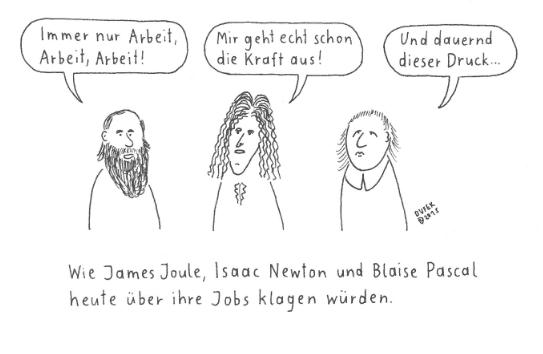Abb.1: Joule, Newton, Pascal. Quelle: Michael Dufek. Aus: Wissenschaftliche Cartoons. Holzbaum-Verlag.