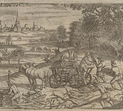 Bauern beim Einsammeln und Abtransport von Holz. Kupferstich, Wolf Helmhardt von Hohberg, 1695. Via Wikimedia Commons